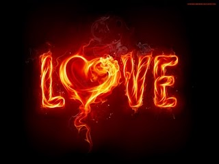 flaming word LOVE