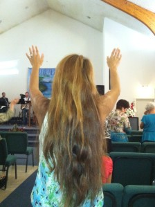 Woman praising Jesus