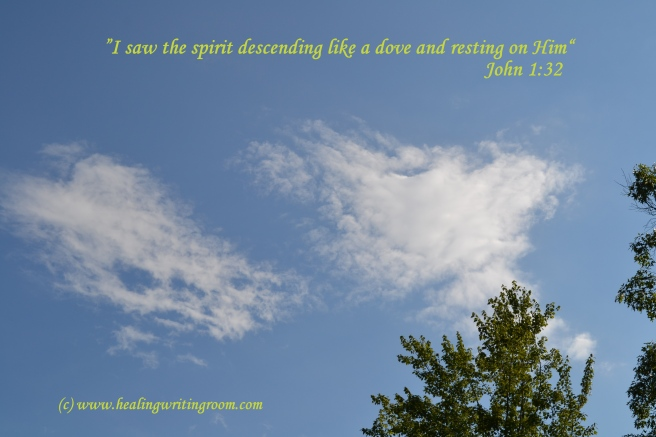 (c) healingwritingroom.com Dove cloud resting over our rented cabin in Blue Ridge, GA.