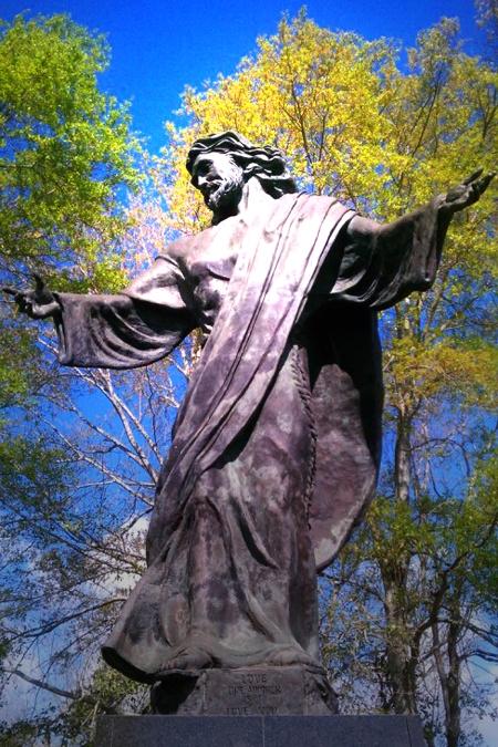 Jesus statue happy