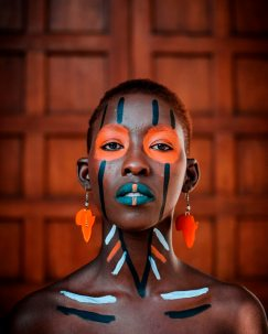 woman tribal face paint