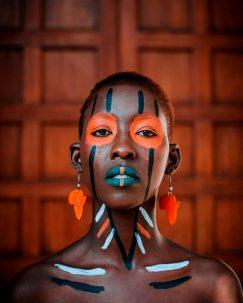 woman tribal face paint